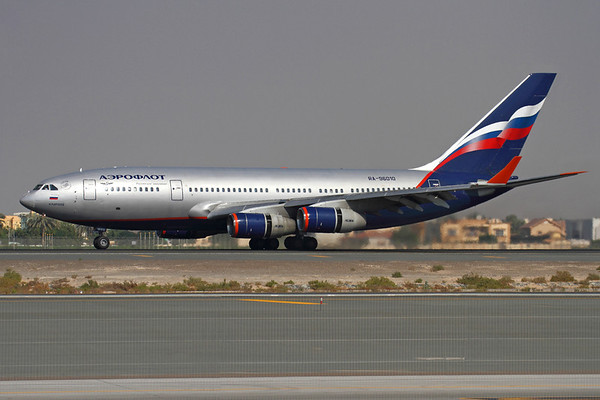 """RA-96010 - Aeroflot Russian Airlines, Ilyushin IL-96-300 (c/n 74393201007)  The IL-96 was designed as the replacement for the IL-86 but has seen only limited service by comparison. Aeroflot operate six of the type, and  """"N.Kapreyev"""" is seen landing on runway 30L at Dubai. 13 November 2011"""