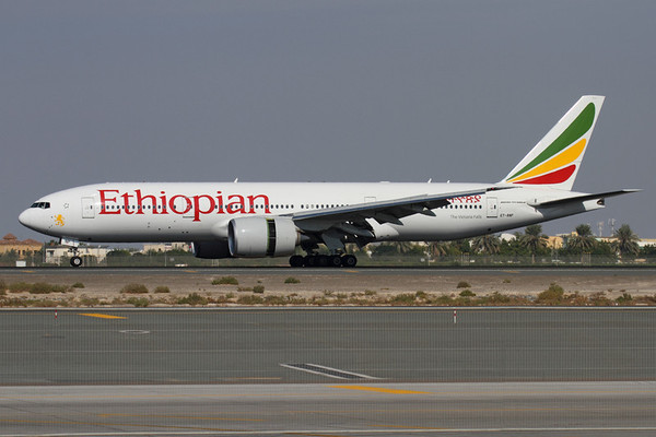 ET-ANP - Ethiopian Airlines, Boeing 777-260LR (c/n 40772, l/n 914)  Ethiopian use a varied mix of Boeing types into Dubai, here one of their Long Range 777s is captured landing on 30L before the bi-annual airshow began. 13 November 2011