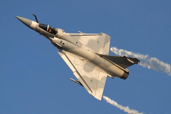 Reg: 740 Operator: UAE - United Arab Emirates Air Force Type:  Dassault Mirage 2000-9AED C/n: tbc   UAE Air Force Mirage 2000 during its impressive display routine at the Dubai Air Show 2011     Photo Date: 13 November 2011 Photo ID: 1200403