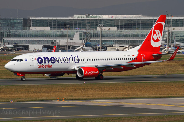 Reg:  D-ABMEOperator:  OneWorld - Air BerlinType:  Boeing 737-86J/W  C/n:  37766 / 4049Location:  Frankfurt-am-Main (FRA / EDDF), GermanyTaxiing out from Terminal 2, taking the southern route to runway 18 for take-off Photo Date:  30 August 2013 Photo ID:  1300859