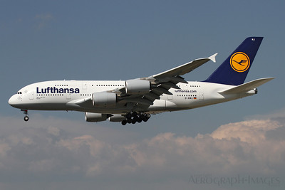 "Reg:  D-AIMJOperator:  LufthansaType:  Airbus A.380-841  C/n:  73Location:  Frankfurt-am-Main (FRA / EDDF), UK On Short finals to runway 25L at its home base, returning from Tokyo-Narita as ""Lufthansa 711 Heavy"" Photo Date:  30 August 2013Photo ID:  1300819"