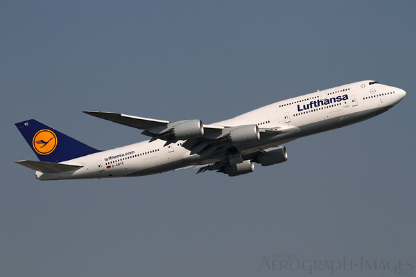 """Reg:  D-ABYCOperator:  LufthansaType:  Boeing 747-830  C/n:  37828 / 1451Location:  Frankfurt-am-Main (FRA / EDDF), Germany""""Lufthansa 456"""" climbs out from runway 25C, bound for Los-Angeles LAX, showing the sleek lines of the latest version of the iconic 747 Photo Date:  30 August 2013Photo ID:  1300821"""