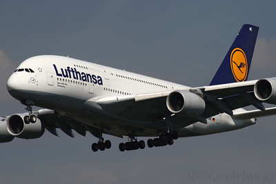 Reg: D-AIME Operator: Lufthansa Type:  Airbus A.380-841		   C/n: 61 Location:  Frankfurt-am-Main (FRA / EDDF), Germany   Johannesburg on very short finals to runway 25L early on a  sunny summer's afternoon      Photo Date: 30 August 2013 Photo ID: 1300803