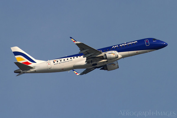 Reg:  ER-ECCOperator:  Air MoldovaType:  Embraer ERJ-190-100LR  C/n:  19000130Location:  Frankfurt-am-Main (FRA / EDDF), GermanyClimbing away from runway 07C returning to Chisinau on a scheduled servicePhoto Date:  30 August 2013 Photo ID:  1300857