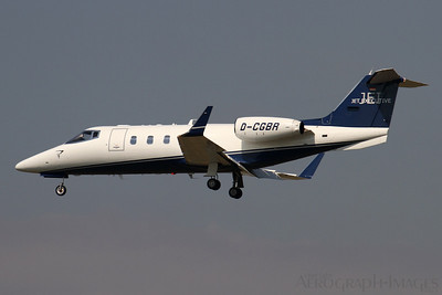 Reg: D-CGBR Type:  Gates Learjet 55		   C/n: 55-122 Location:  Frankfurt-am-Main (FRA / EDDF), Germany   Jet Executive International Charter's JEI121 on short finals to runway 25L at its home base     Photo Date: 30 August 2013 Photo ID: 1300806