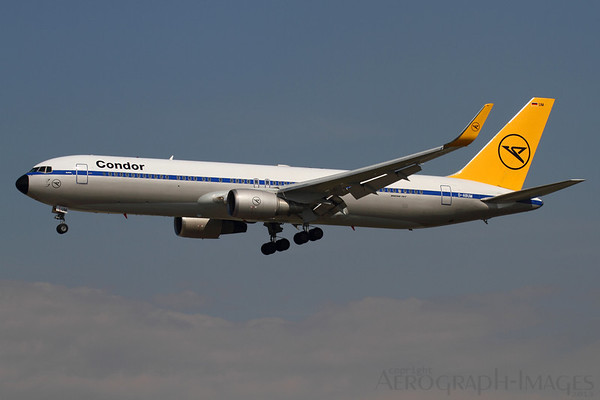 Reg:  D-ABUMOperator:  Condor FlugdienstType:  Boeing 767-31BER      C/n:  25170 / 542Location:  Frankfurt-am-Main (FRA / EDDF), Germany The fantastic Condor Retro 767 on appraoch to Frankfurt's runway 25L - one of the highlights of the visit. This former Alitalia aircraft has had winglets fitted since it was repainted into this colourscheme at Manchester, UK. Photo Date:  30 August 2013Photo ID:  1300820