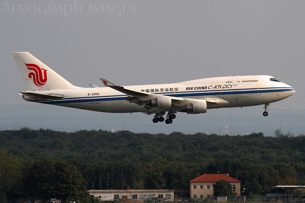Reg: B-2456 Operator:  Air China Cargo Airlines Type:  Boeing 747-4J6BCF		   C/n: 24346 / 743 Location:  Frankfurt-am-Main (FRA / EDDF) - Germany   Landing on 25L in the early evening, photograph taken from the besucherterrasse on Terminal 2     Photo Date: 29 August 2013 Photo ID: 1300794