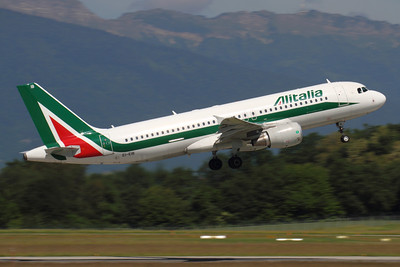 EI-EIB - Alitalia, Airbus A.320-216 (c/n 4249)  On the Irish register, this Rome service is captured departing runway 05 at Geneva. 17 May 2011.