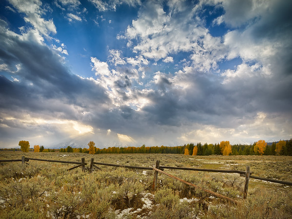 Fall Color, Fence and Crepuscular Rays