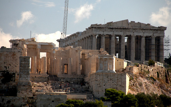 """Athens - The Parthenon<br /> The Parthenon is a magnificent """"Temple to the Virgin"""" goddess Athena, who was represented inside by a giant gold and ivory sculpture.  The Parthenon was constructed between 447-432 BC."""