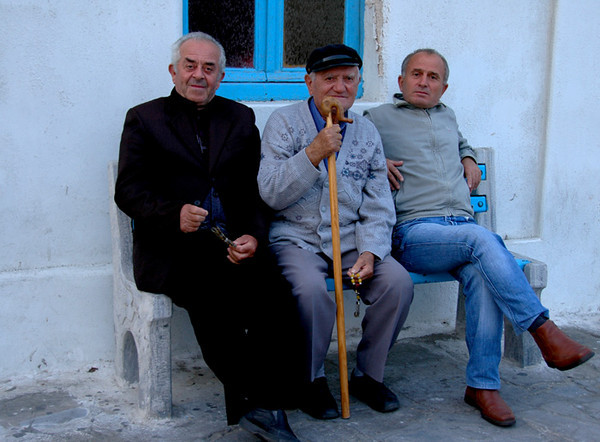 Welcome to Greece<br /> <br /> These gentlemen caught my attention and I knew I just had to photograph them.  They are from Serbia and were visiting Mykonos.