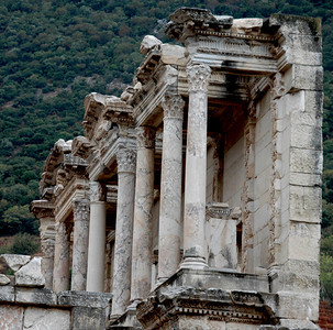 Turkey - Ancient city of Epheses Side view of the Celsus Library.