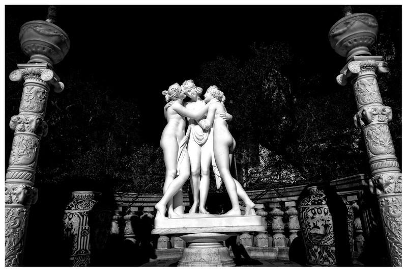 B & W nymphs framed by courtyard columns