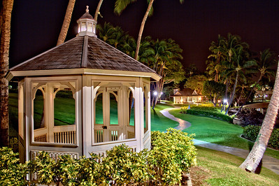 The chapel walkway at night at the Hilton Waikoloa Village