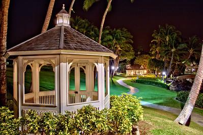 The chapel walkway at night at the Hilton Waikoloa Village