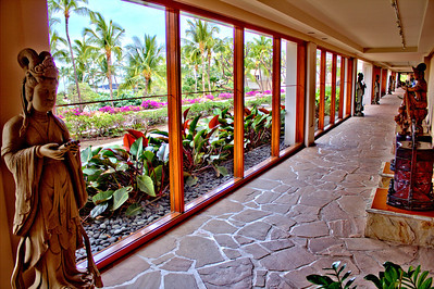 Artwork along the covered pathway at the Hilton Waikoloa Village