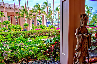 The Hilton Waikoloa Grand Staircase and pond