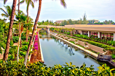 Boat canal at the Hilton Waikoloa Village with the Ocean Tower in the distance