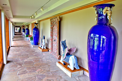 Seven-foot ceramic vases along a corridor of the Hilton Waikoloa Village