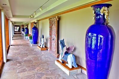 Seven-foot ceramic vases along a corridor of the Hilton Waikoloa Village