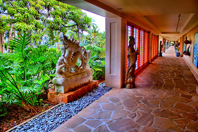 Artwork along one of the Hilton Waikoloa Village covered pathway