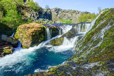 Trickling waterfalls in Gjáin canyon, Þjórsárdalur.   There are more waterfalls to see in the area. On the way to Gjáin a 1 km detour passes Hjálparfoss, and further inland (9 km one-way - on foot or in a good 4WD) you'll find the impressive Háifoss, with 122 meters the second highest waterfall in Iceland.