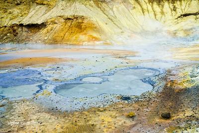 Bubbling mud pools in the Krýsuvik geothermal area.