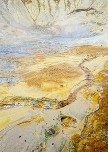 Beautiful colors at Krýsuvík geothermal area with bubbling mud pools and hot springs.