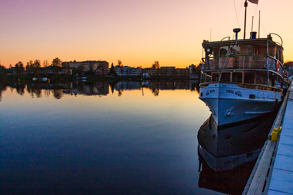 Sunset over Savonlinna Waterfront