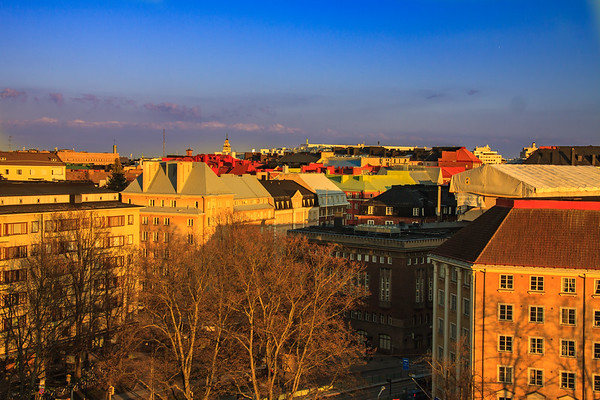 Warm Colors of the Approaching Sunset on the Helsinki Skyline