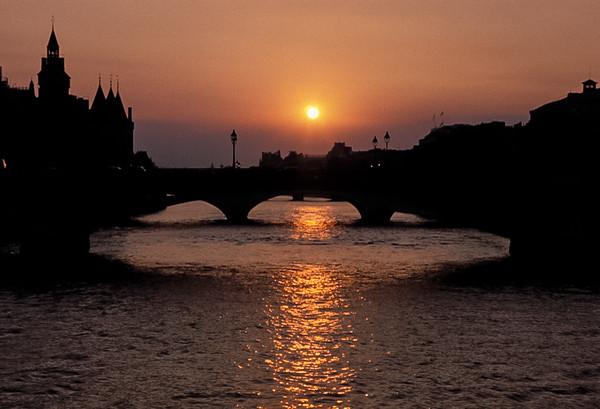 Bridge Over Seine at Sunset