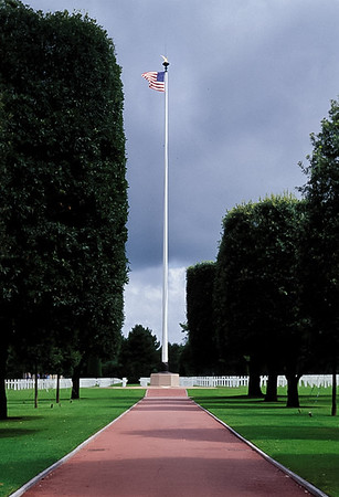 Flag at American Cemetery in Normandy