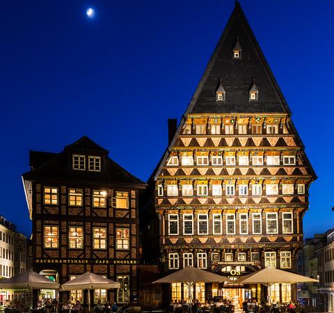 Moon over Hildesheim Market Square