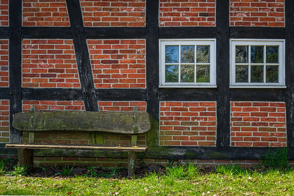 Half-Timbered Home and Bench