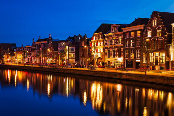 Twilight along the Spaarne River in Haarlem