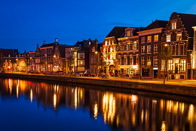 Twilight along the Spaarne River in Haarlem