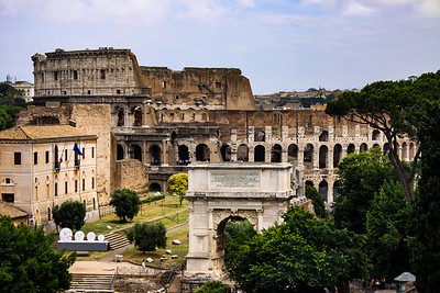 Colosseum and Arch of Titus from Palatine Hill