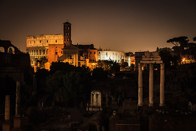 Colosseum at Night from Capitoline Hill