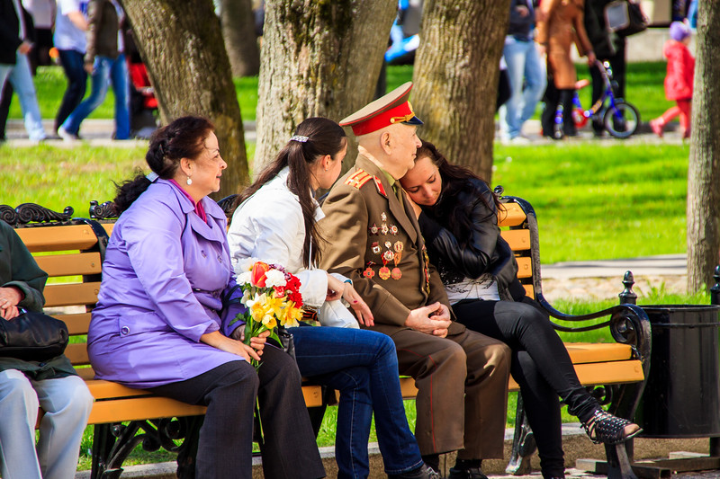 Russian WWII Colonel Celebrating Victory Day in Novgorod