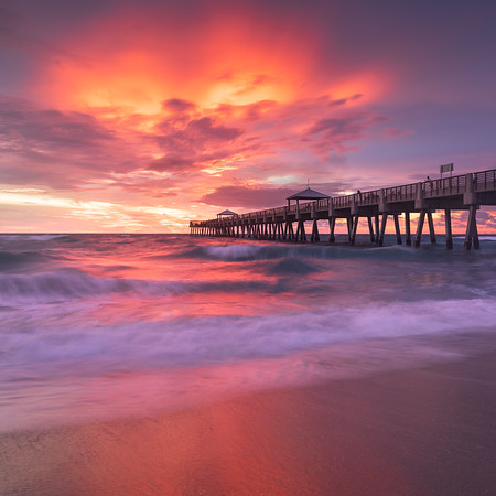 Fiery skies at the Juno Beach Pier ahead of TS Gordon