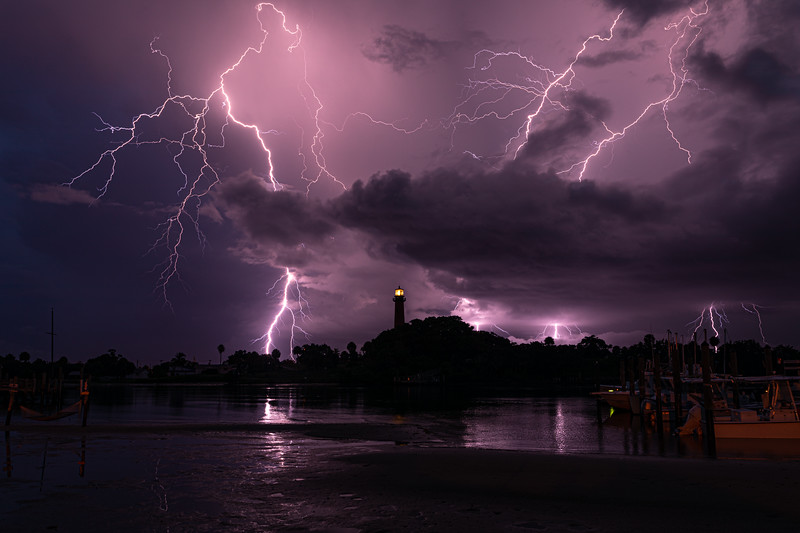 Lightning over the Jupiter Lighthouse