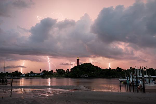 Incredible lightning fast the Jupiter Lighthouse