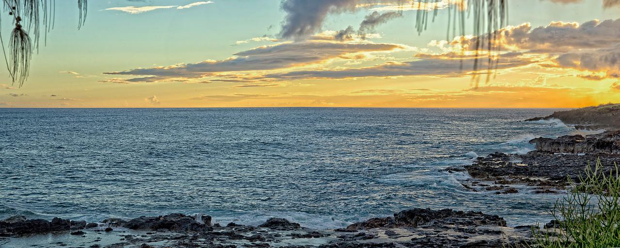 Kauai Shore Sunset Pano