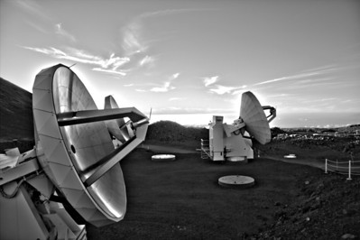 Keck Observatory on Hawaii's Big Island atop Mauna Kea (B & W) - taken just before sunset and a temperature of only 43 degrees!