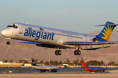 N884GA - Allegiant Airlines, McDonnell Douglas MD-83 (c/n 49401 l/n 1357)  Delivered in 1987 this MD-83 flew for CanAfrica, Air Sur, Spanair, Private Jet Expeditions, Centennial, Finnair and FlyNordic before joining Allegiant's fleet.  Captured over runway 25L at Las Vegas in late afternoon sun. 20 January 2008
