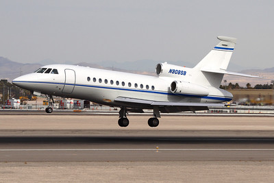 Reg: N908SB Type:  Dassault Falcon 900EX C/n: 81 Location:  Las Vegas - MacCarran Internationl (LAS / KLAS), USA    Operated by communications company Southwestern Bell, this Falcon is photographed flaring to land on runway 25L in Las Vegas   Photo Date: 23 January 2008 Photo ID: 1300638