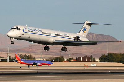Reg: N862GA Operator: Allegiant Air Type:  McDonnell Douglas MD-83 C/n: 49556 / 1415   Afternoon landing in Las Vegas Nevada for this former SAS Mad-Dog - wearing the old, much less colourful allegiant scheme.     Photo Date: 20 January 2008 Photo ID: 1200376