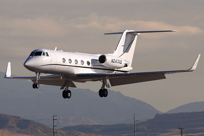 Reg: N247AB Type:  Grumman Gulfstream G.II-SP C/n: 208   Seen landing in Las Vegas in tricky morning light, this Gulfstream 2 has since been withdrawn and parked in Phoenix, AZ.     Photo Date: 21 January 2008 Photo ID: 1200388