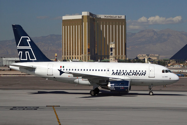 Reg: XA-UBT Operator: Mexicana Airlines Type:  Airbus A.318-111 C/n: 2367   Mexicana arrival at Las Vegas, one of only 60 A318s built. Now flying with Avianca after the Mexican carrier's collapse.     Photo Date: 07 October 2006 Photo ID: 1200377