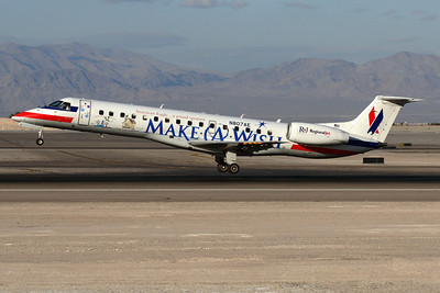 """Reg: N807AE Operator: American Eagle Airlines Type:  Embraer ERJ-140 C/n: 145506   Landing on runway 25R at Las Vegas on a service from Los Angeles-LAX. This Eagle aircraft wears the """"Make-a-Wish"""" special colourscheme.     Photo Date: 21 January 2008 Photo ID: 1200387"""